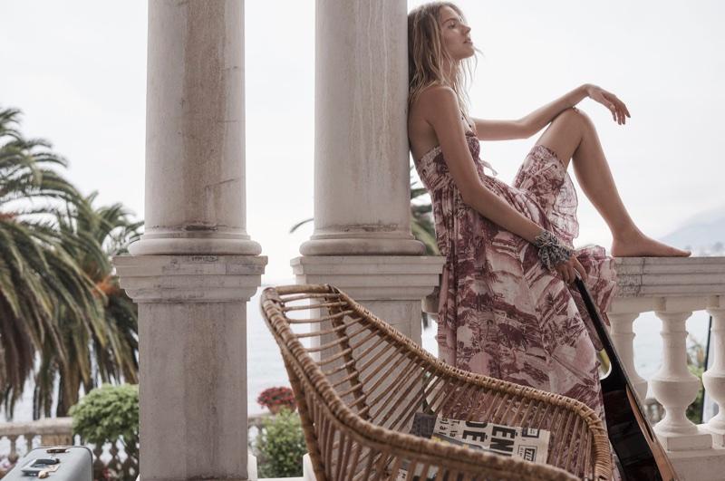 Sasha Luss models Zimmermann's Kali Hawaiian maxi dress for resort 2018 campaign