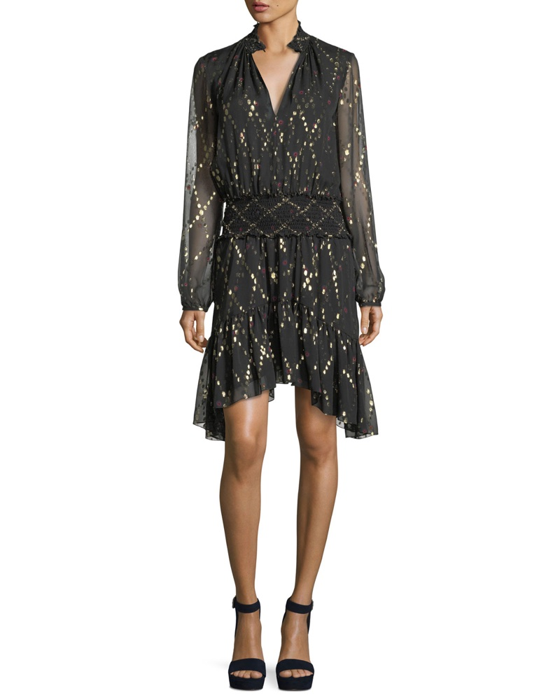 A.L.C. Tula Split-Neck Long Sleeve Silk Metallic Dress $495