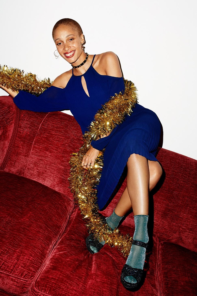 Adwoa Aboah wears blue dress in Reserved's Christmas 2017 campaign