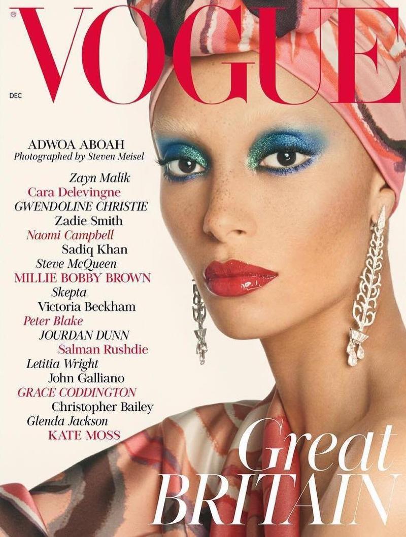 Adwoa Aboah on Vogue UK December 2017 Cover. Photo: Steven Meisel
