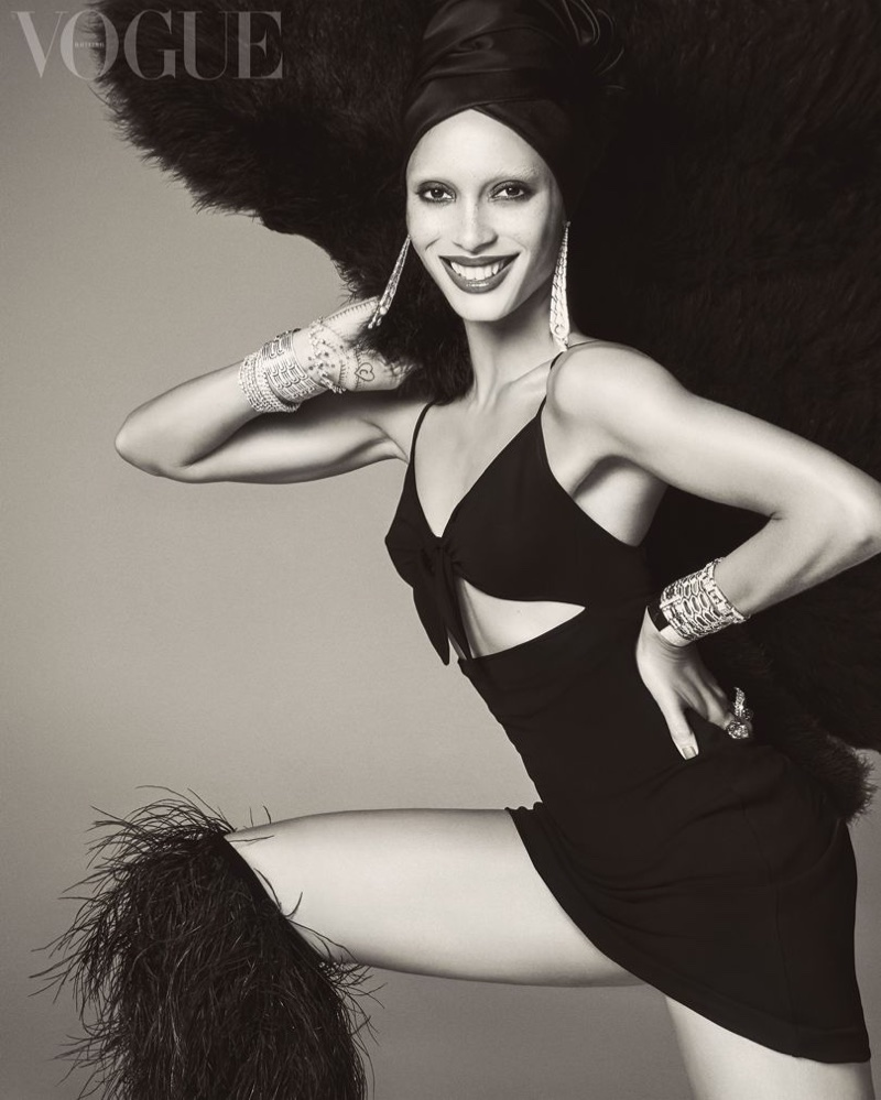 Model Adwoa Aboah poses in black and white for Vogue UK. Photo: Steven Meisel