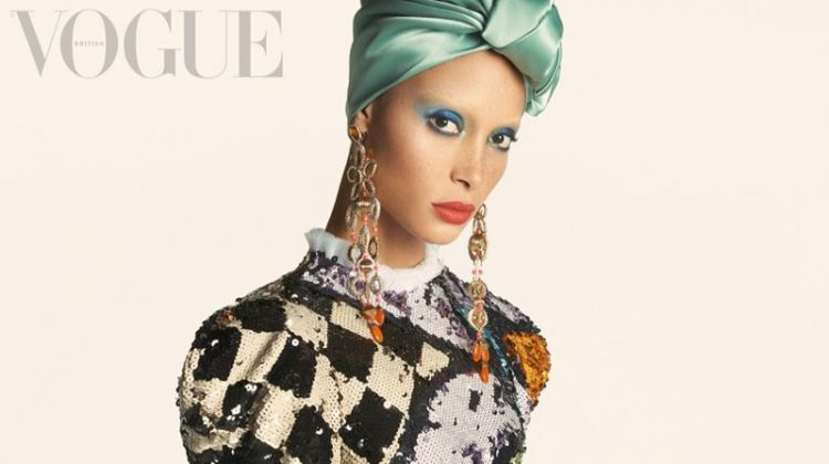 Adwoa Aboah wears sequined dress with puffed sleeves. Photo: Steven Meisel/Vogue UK