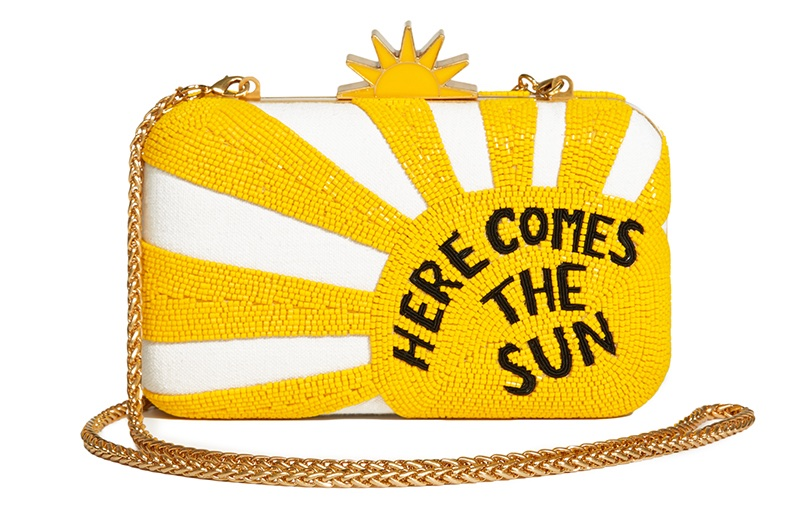 Alice + Olivia x The Beatles Here Comes the Sun Clutch $495
