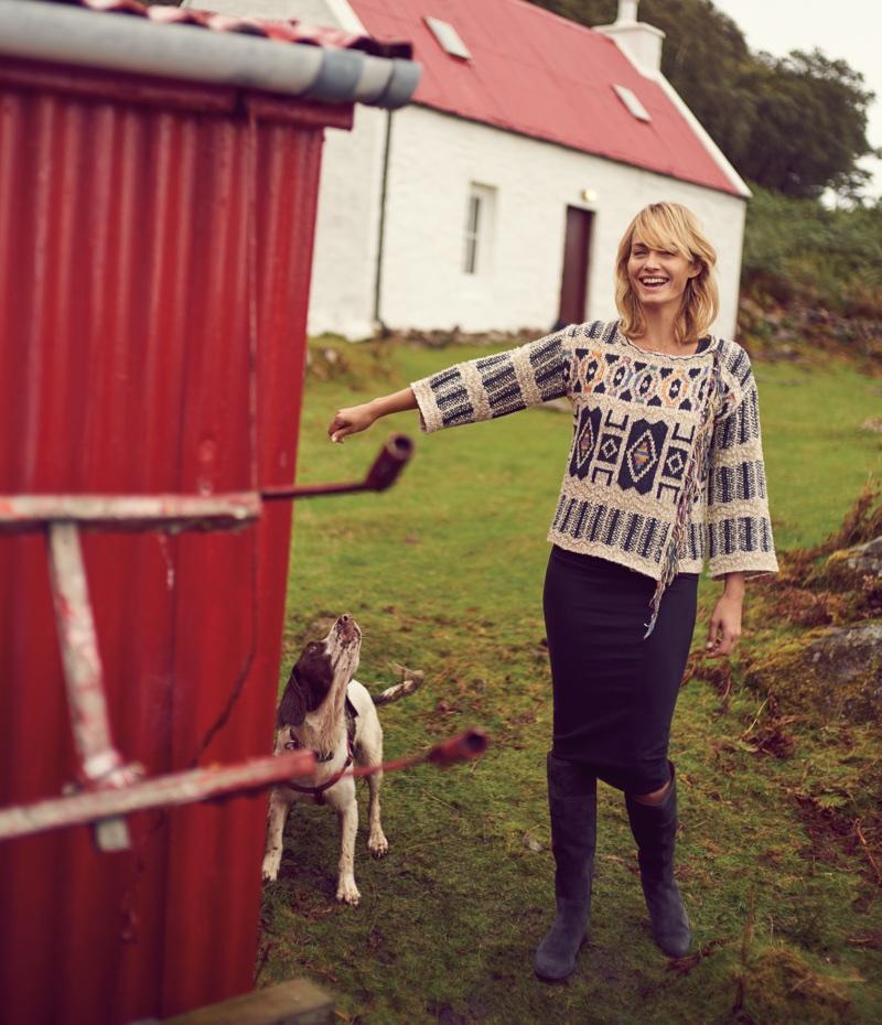 Amber Valletta poses in the Scottish Highlands for Anthropologie's November 2017 catalog