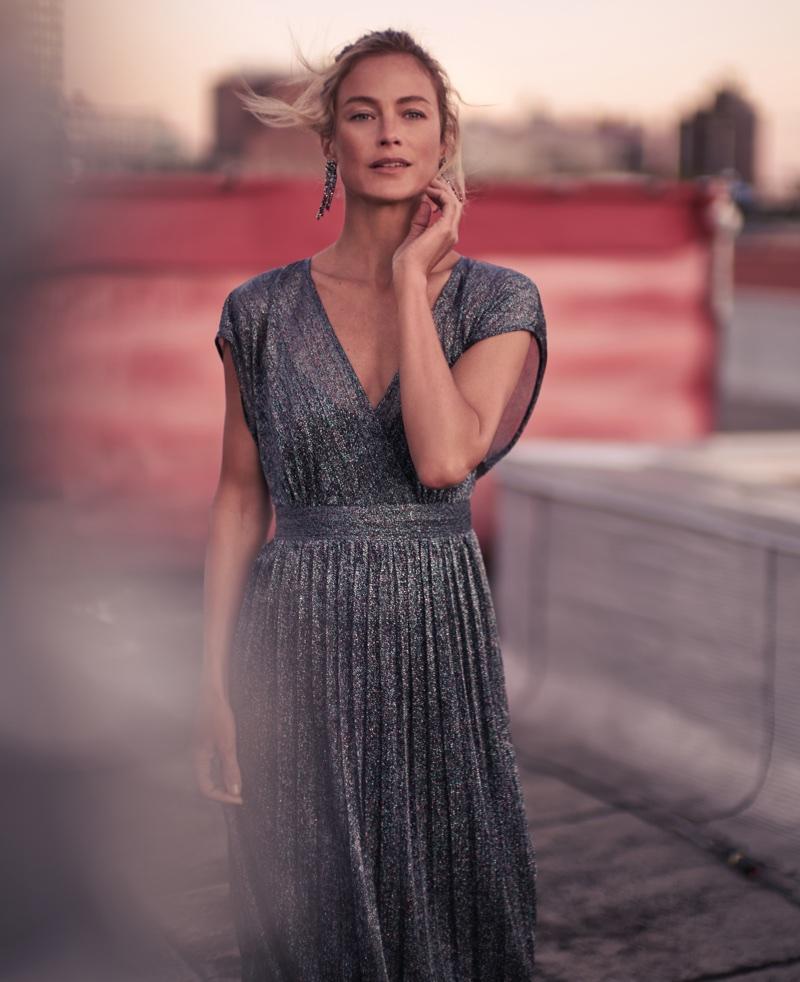 Model Carolyn Murphy shines in metallic dress for Anthropologie's November 2017 catalog