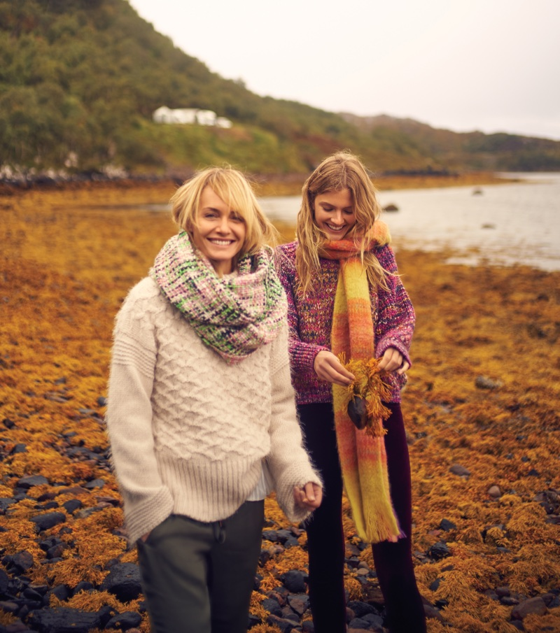 Amber Valletta and Constance Jablonski pose in the Scottish Highlands for Anthropologie's November 2017 catalog