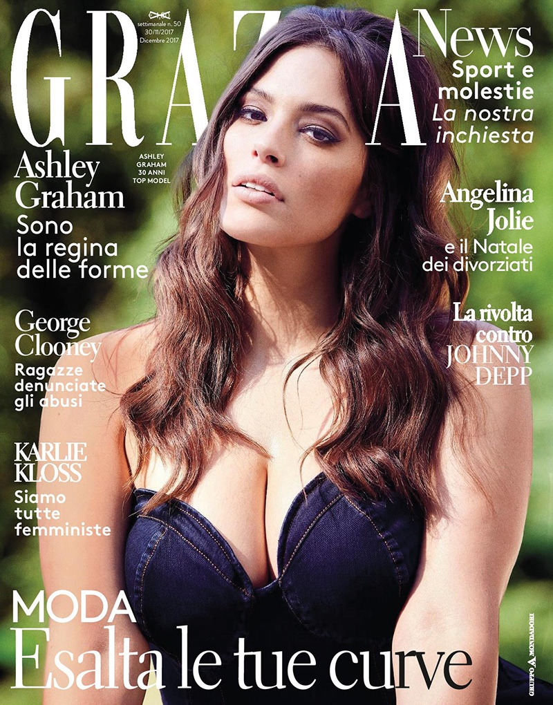 Ashley Graham Poses in Chic Fashions for Grazia Italy