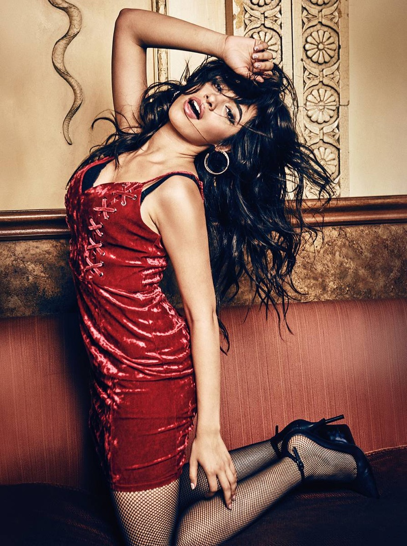 Camila Cabello poses in velvet dress from Guess' Holiday 2017 campaign