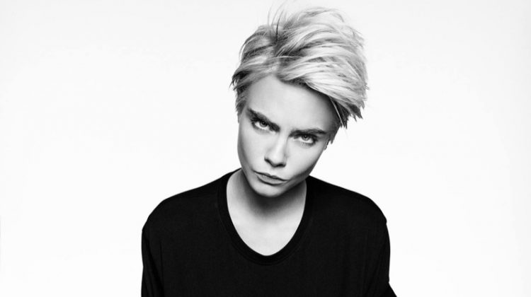 Cara Delevingne poses in Armani Exchange Statement Tee campaign