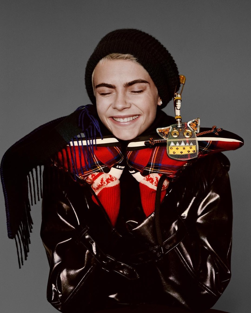Cara Delevingne is all smiles in Burberry's Holiday 2017 campaign