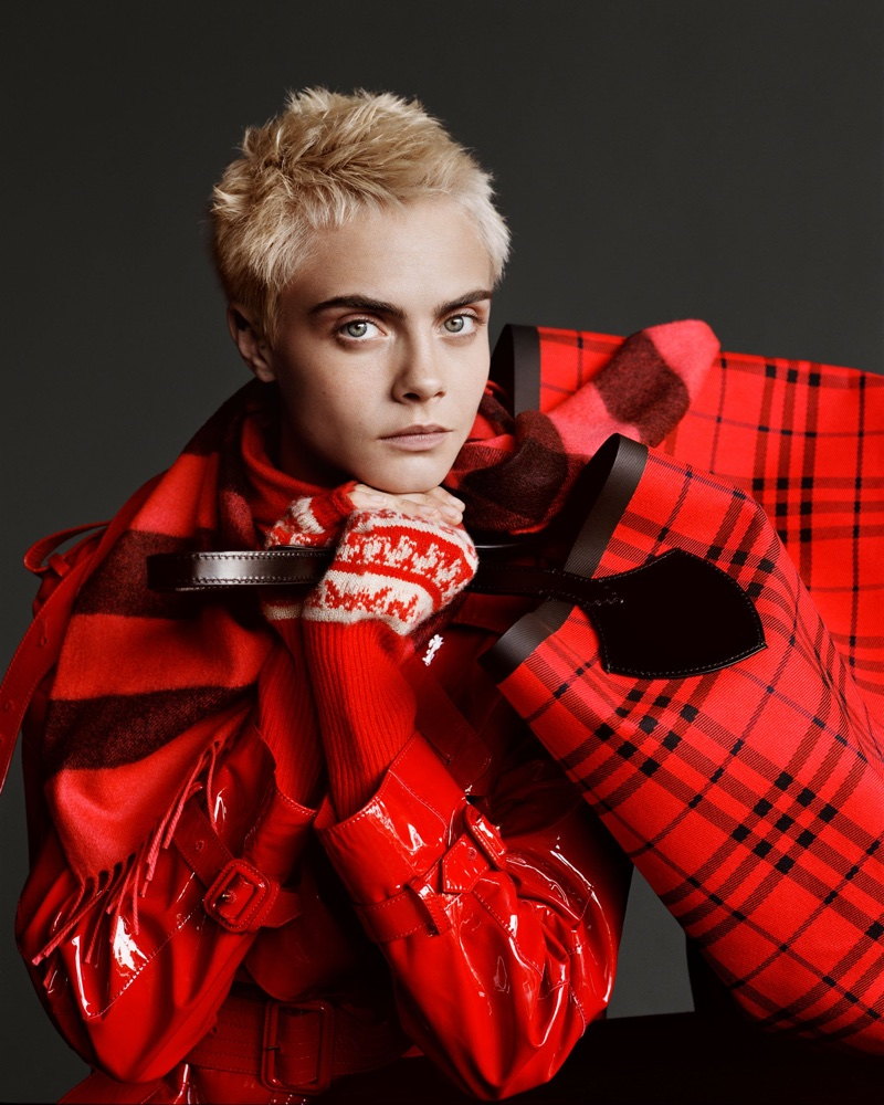Model Cara Delevingne embraces red plaid in Burberry's Holiday 2017 campaign