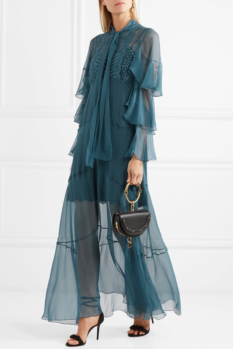 Chloe Ruffled Embroidered Silk-Crepon Gown $3,776.50 (previously $5,395)