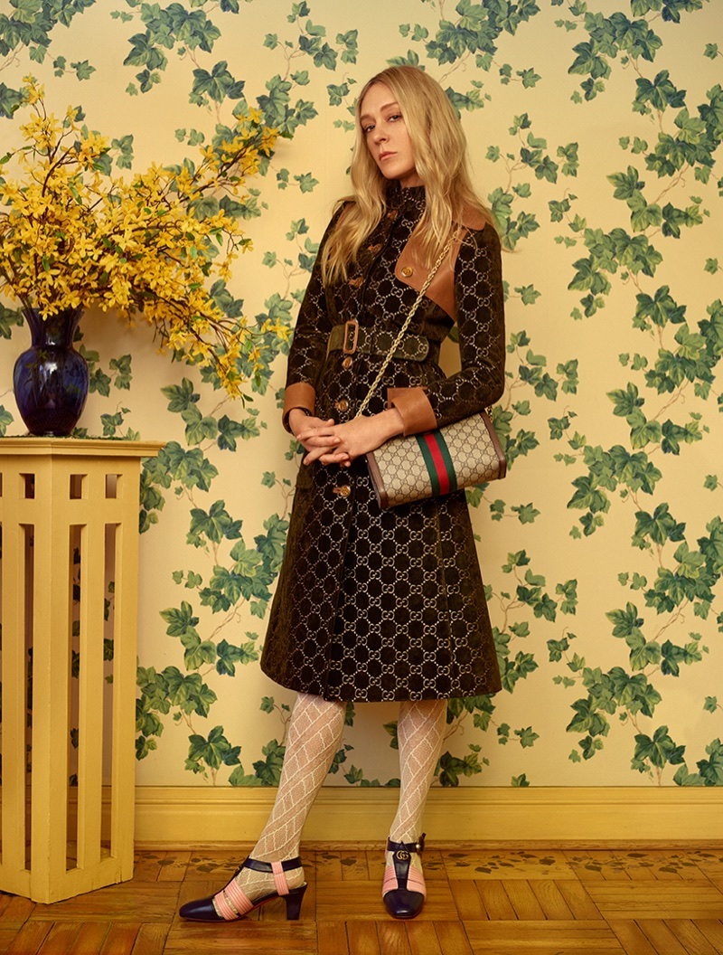 Photographed by Thomas Whiteside, Chloe Sevigny poses in look from Gucci's resort 2018 collection