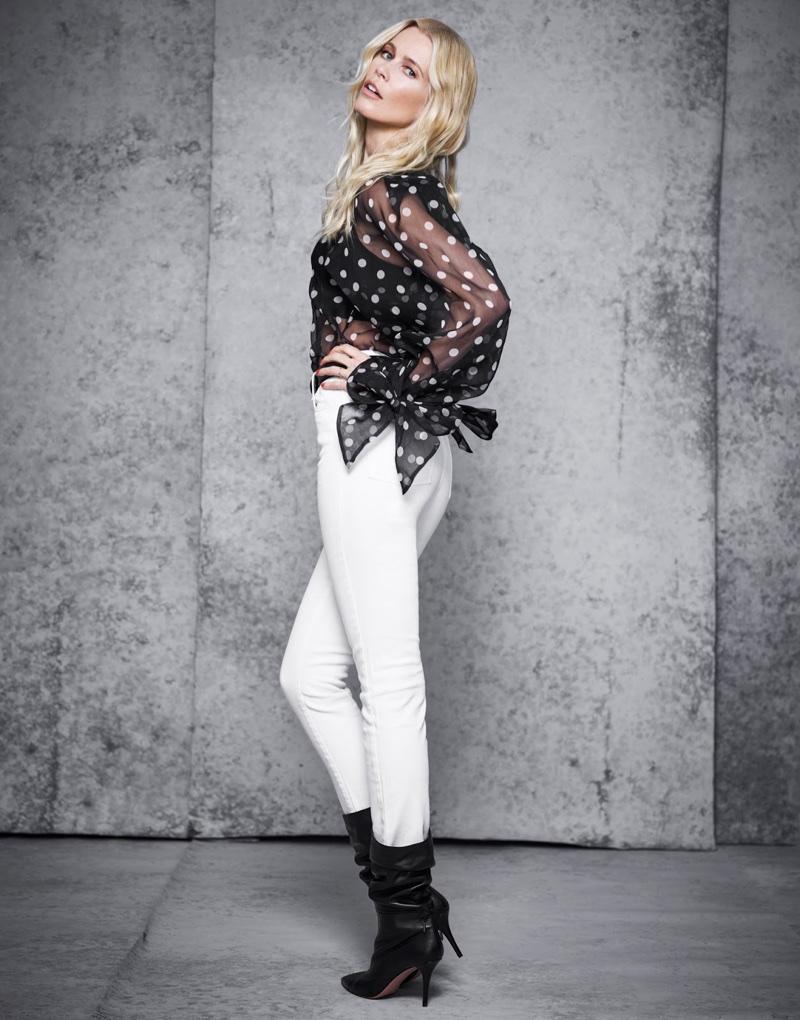 Claudia Schiffer Embraces Black & White Fashion for The Edit