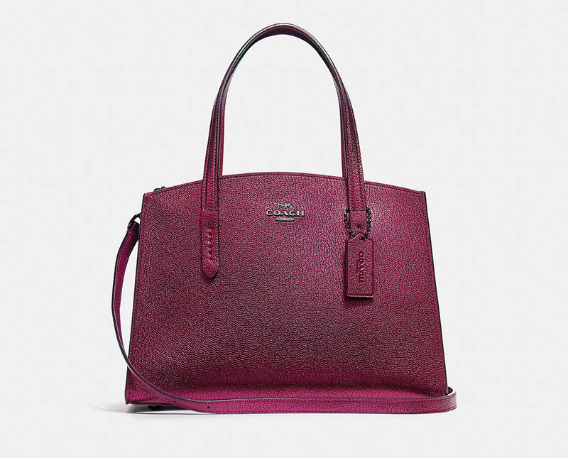 Coach Charlie Carryall 28 Metallic in Berry $275