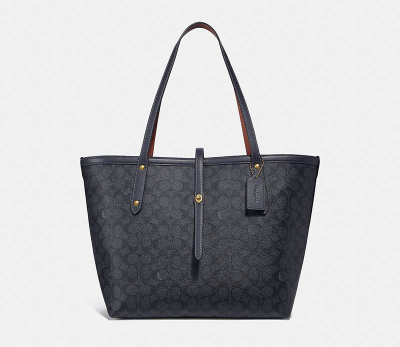 Coach Market Tote in Signature Canvas with Charcoal/Midnight $295