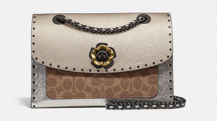 Coach Parker Signature Canvas in Rivets with Snakeskin Detail $450