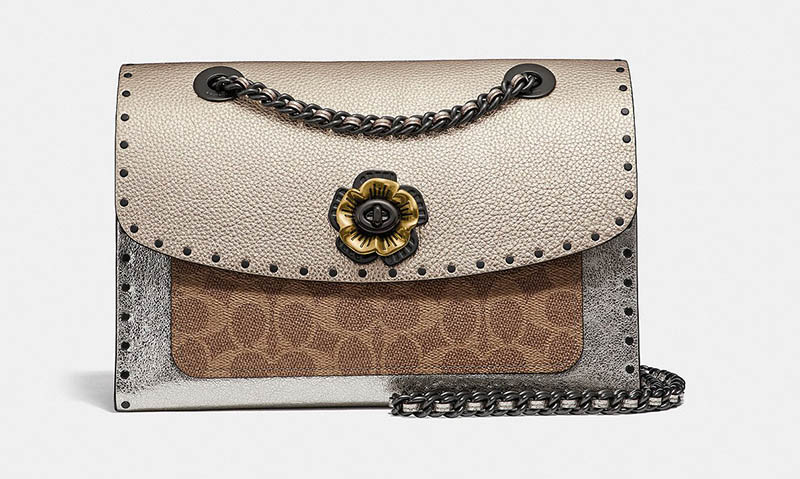 864d75ed2c0c3e Coach Parker in Signature Canvas in Rivets with Snakeskin Detail $450