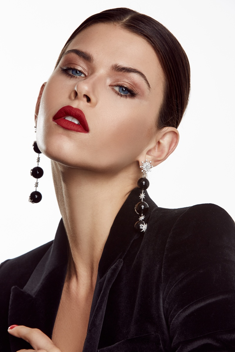 Georgia Fowler wears dangling earrings in Colette Jewelry campaign