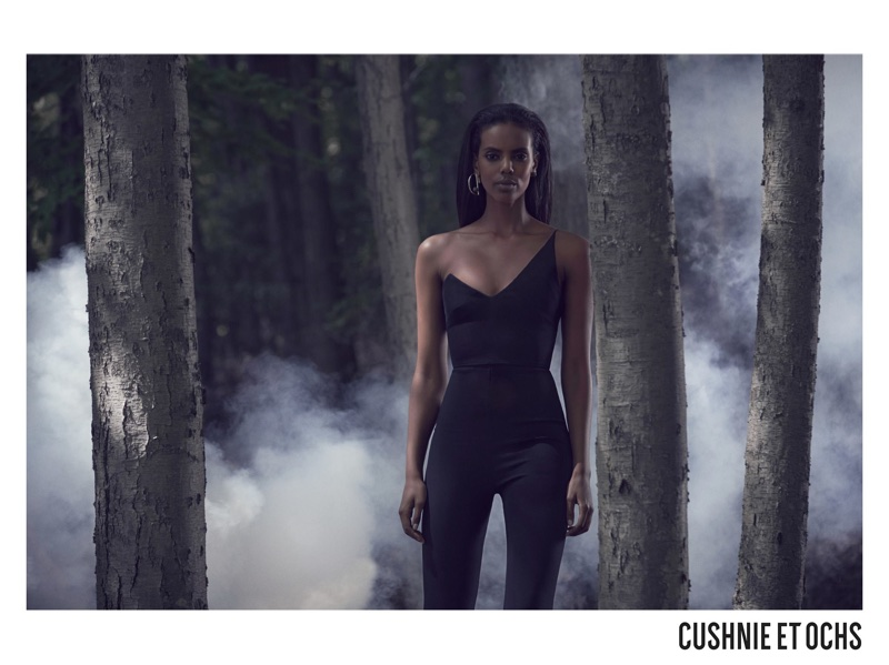 Grace Mahary poses in form-fitting jumpsuit for Cushnie et Ochs' fall-winter 2017 campaign