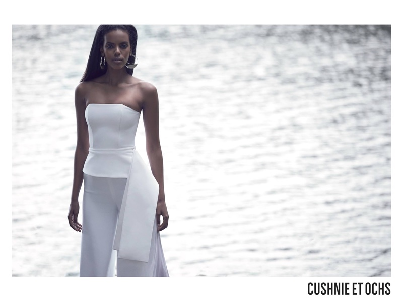 Grace Mahary stuns in white for Cushnie et Ochs' fall-winter 2017 campaign