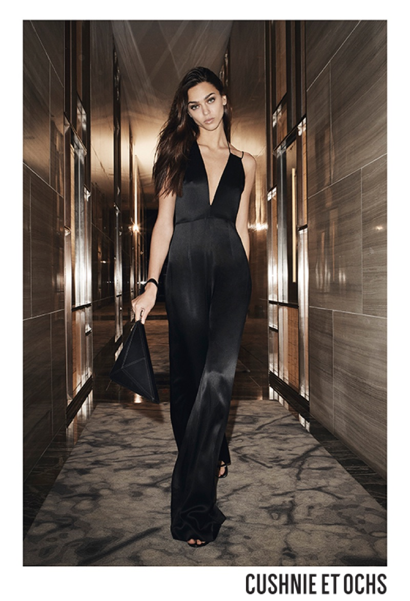 Model Zhenya Katava wears black jumpsuit in Cushnie et Ochs' resort 2018 campaign
