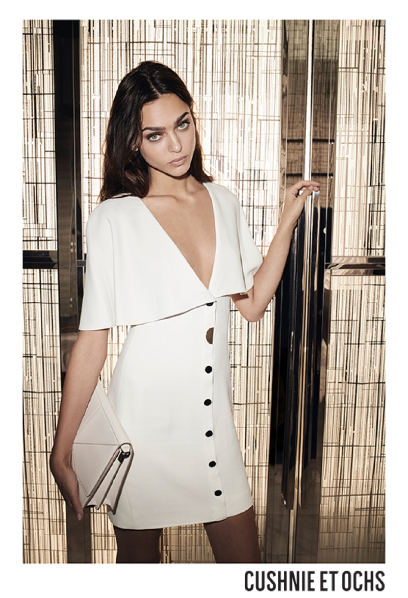 Zhenya Katava poses in white dress for Cushnie et Ochs' resort 2018 campaign