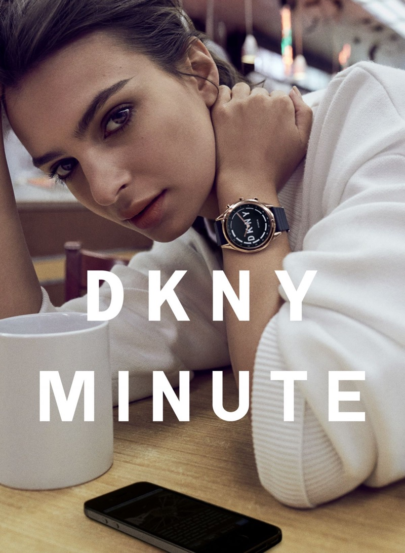 Model Emily Ratajkowski wears smartwatch in DKNY Minute campaign