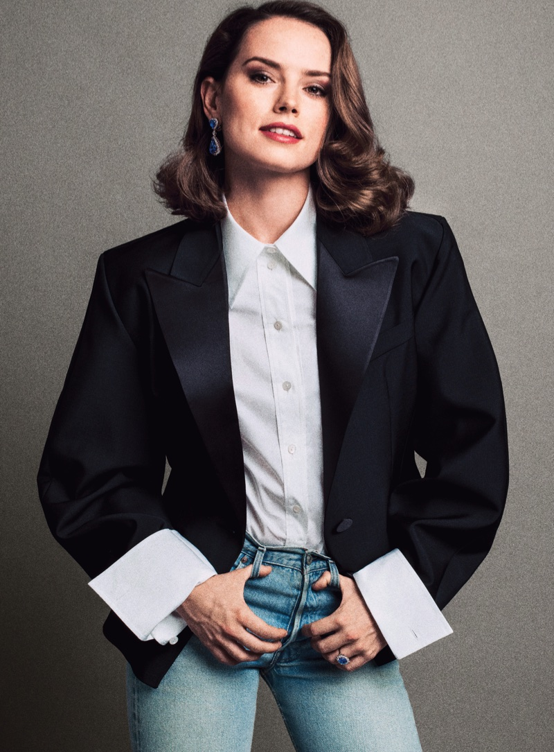 Daisy Ridley poses in Louis Vuitton shirt and jacket