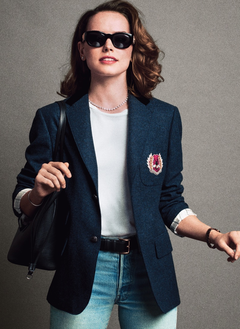 Actress Daisy Ridley wears Gucci jacket, The Row t-shirt and vintage jeans