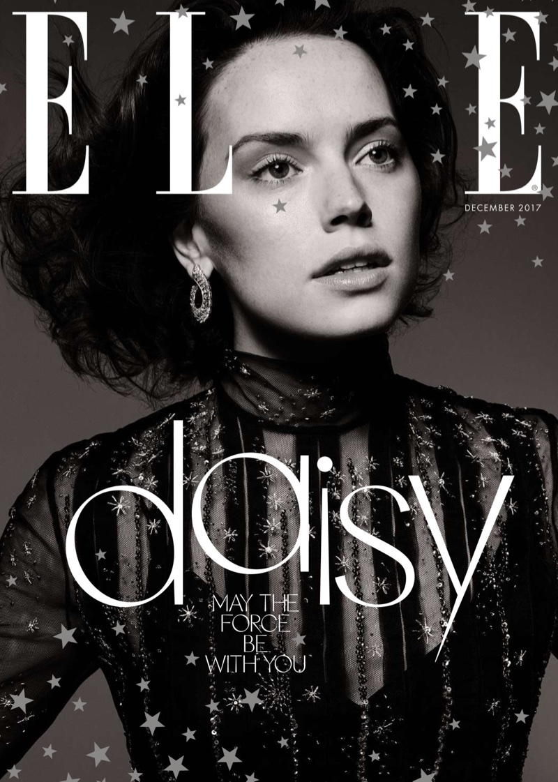 Daisy Ridley poses in Dior dress on ELLE UK December 2017 cover