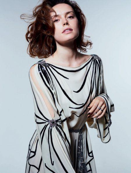 Daisy Ridley Wears Gorgeous Dresses in ELLE UK