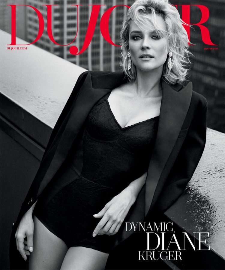 Actress Diane Kruger poses in Celine jacket and Dolce & Gabbana bodysuit for DuJour Winter 2017 cover