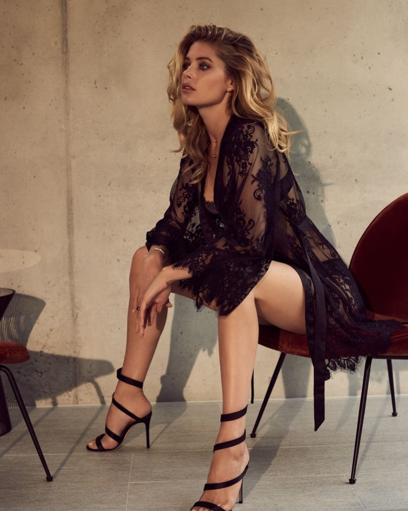 Doutzen Kroes poses in a lace robe from Doutzen Stories by Hunkemöller