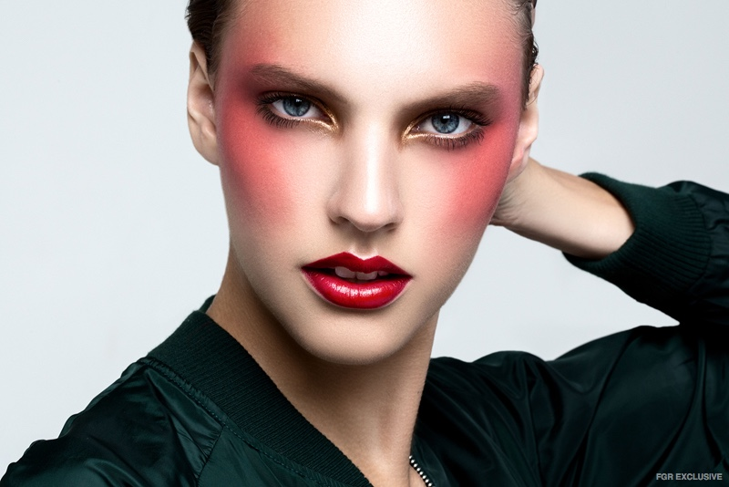 Top Zara (On Skin) NARS Velvet Matte Lip Pencil in Dragon Girl, MAC Cream Color Base in Premeditated and Kryolan Cream Shadow in 079E