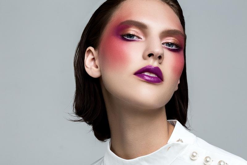 Top Zara (On Skin) MAC Eye Kohl in Fascinating, MAC Lipstick in Hip to the Beet and Kryolan Cream Shadow in Shimmering Vision