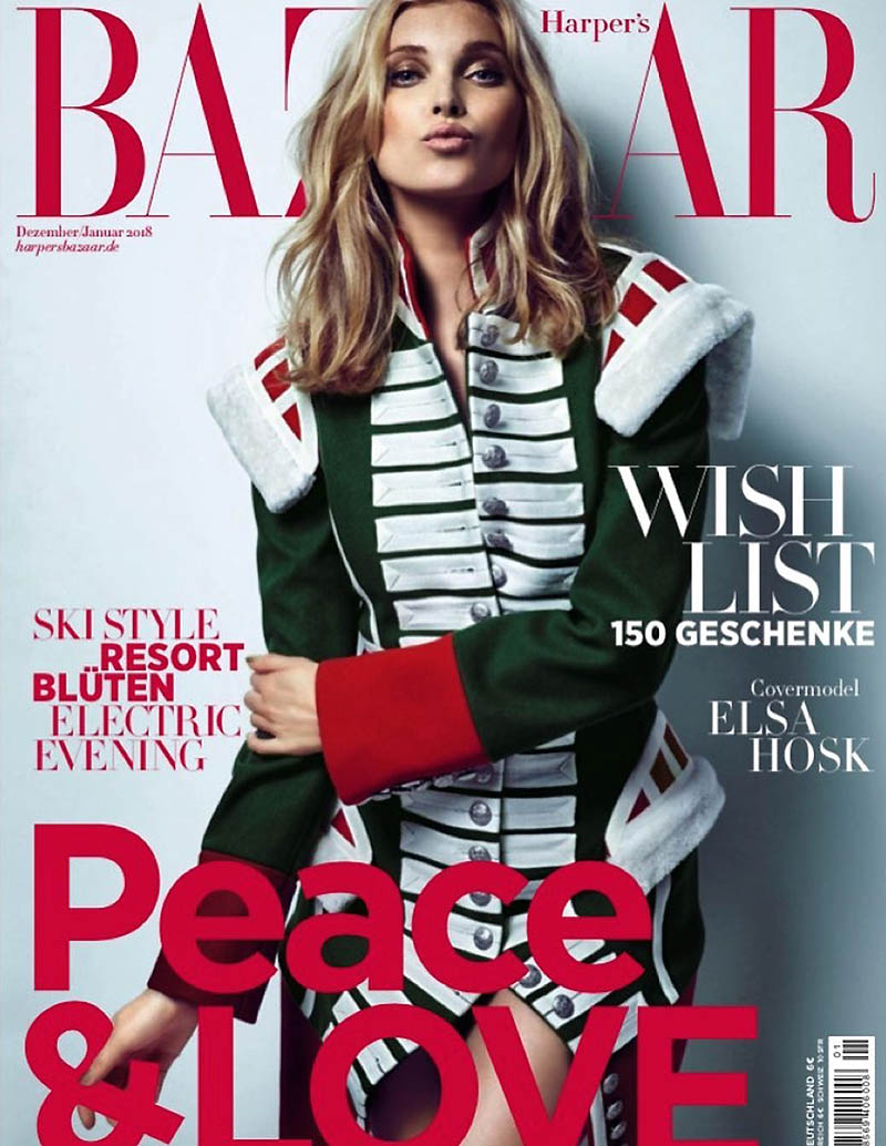 Elsa Hosk on Harper's Bazaar Germany December 2017 Cover