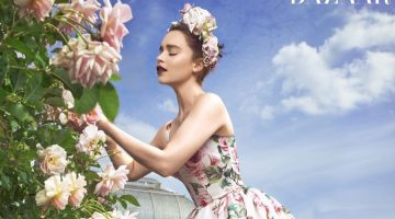 Tending flowers, Emilia Clarke poses in Dolce & Gabbana dress and Eric Javits headpiece