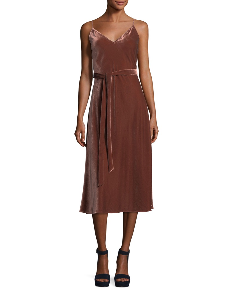 FRAME Velvet V-Neck Sleeveless Midi Slip Dress $449