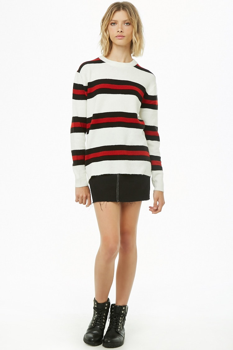 Forever 21 Striped Brushed-Knit Sweater $9.16 (previously $22.90)