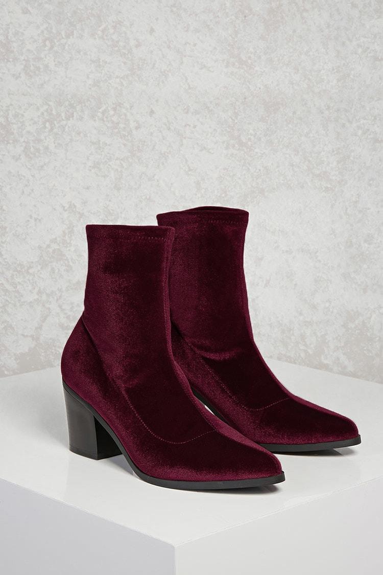Forever 21 Velvet Chunky Heel Boots $13.96 (previously $34.90)