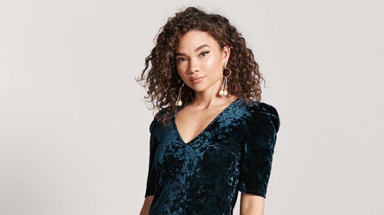 Forever 21 Velvet Mini Dress in Hunter Green $11.99 (previously $17.90)