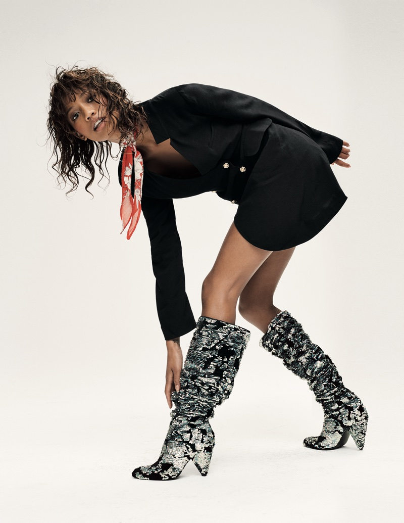 Free People Suit Mini Dress and Shellys London Midnight Party Sequin Boot