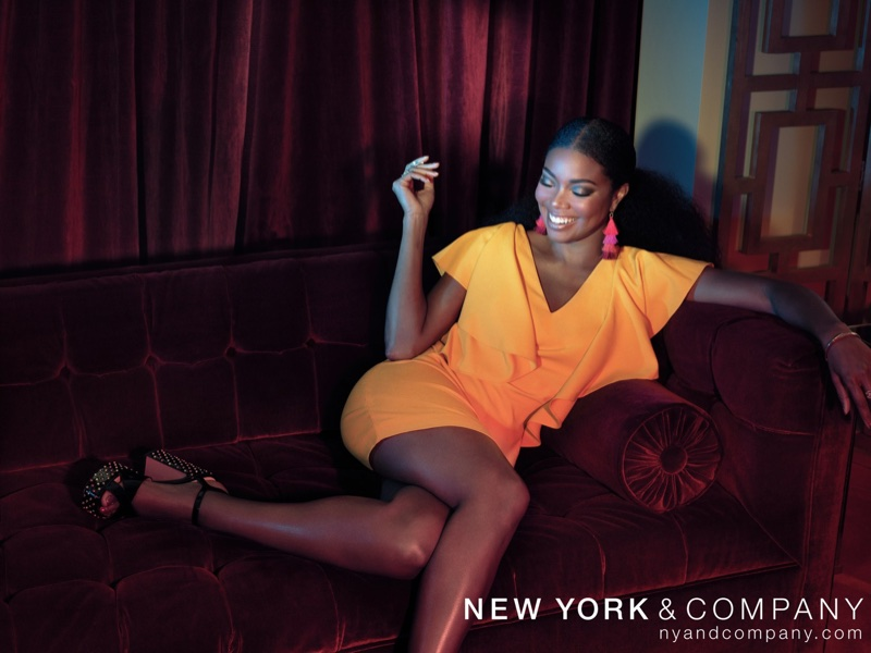 New York & Company x Gabrielle Union Collection Ruffle-Sleeve Shift Dress