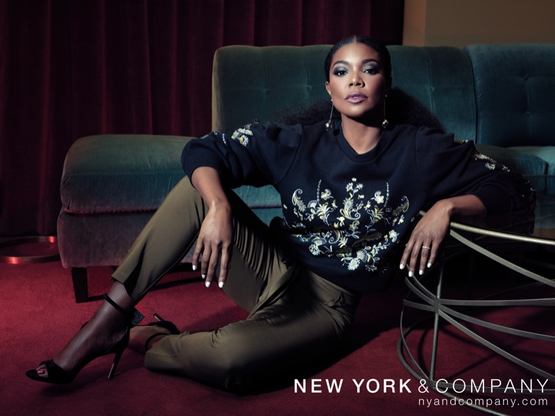 Gabrielle Union wears New York & Company x Gabrielle Union Embroidered Sweatshirt and Tapered Pant