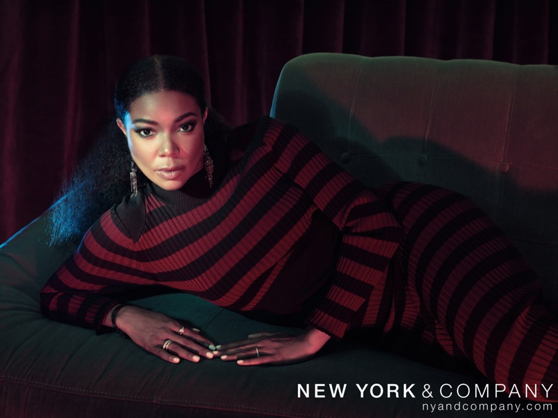 New York & Company x Gabrielle Union Collection Mock-Neck Sweater Dress