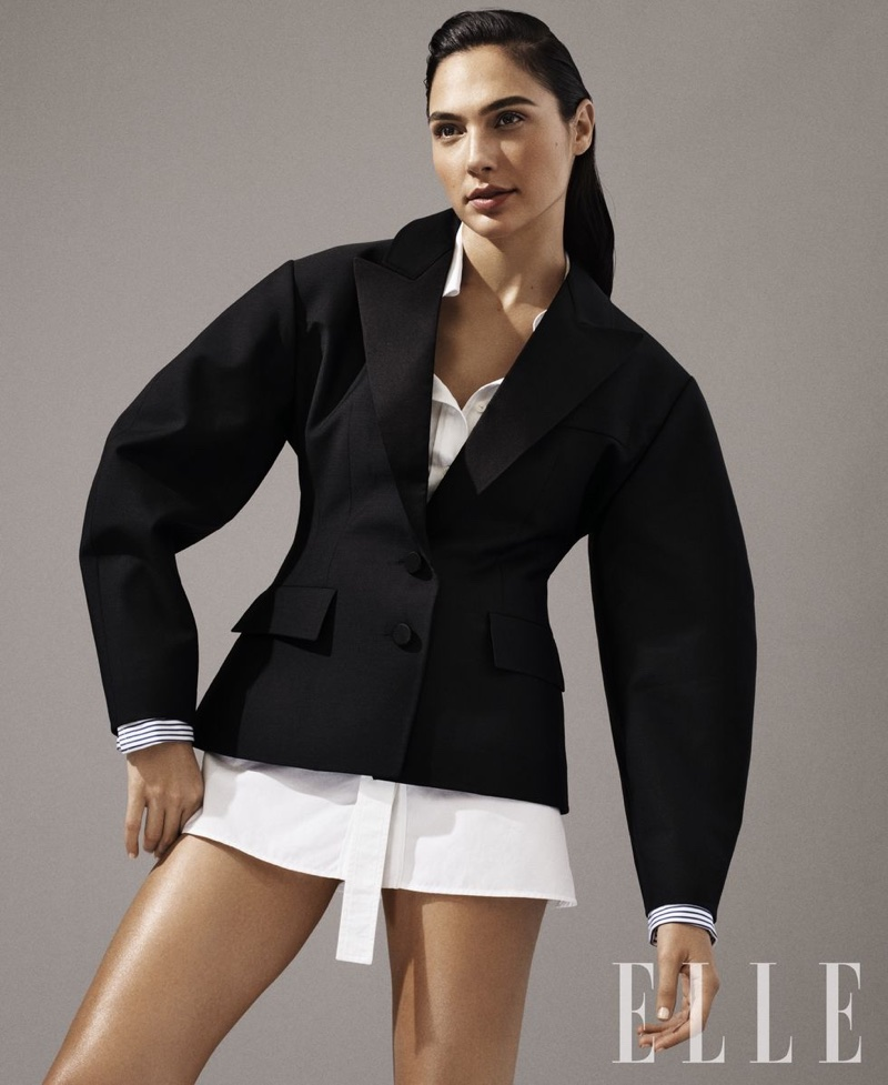 Actress Gal Gadot poses in Louis Vuitton jacket and shirt