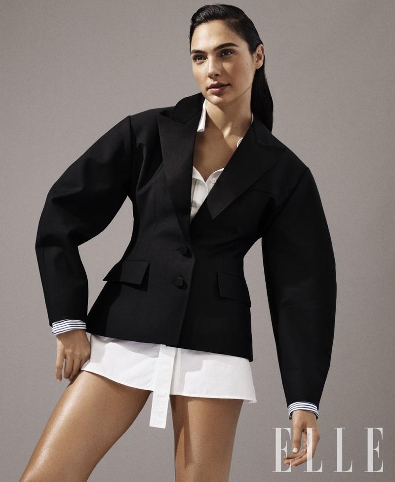 Actress Gal Gadot poses in Louis Vuitton jacket and shirt