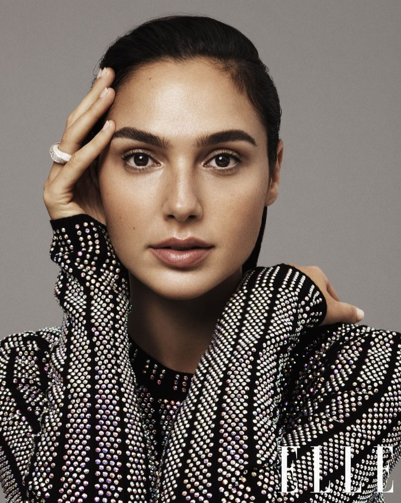 Getting her closeup, Gal Gadot wears Gucci crystal embellished top and Cartier ring