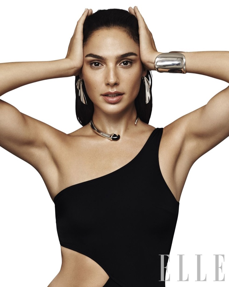 Striking a pose, Gal Gadot wears Solid & Striped swimsuit with Elsa Peretti for Tiffany & Co. jewelry